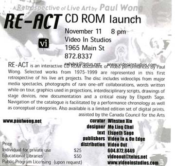 Re-Act CD ROM Launch poster